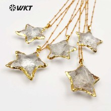 WT-N1119 Wholesale Fashion Diy Knotted Crystal Quartz Necklace pendant Natural Stone Star with gold trim necklace jewelry
