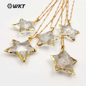 Image 2 - WT N1119 Wholesale Fashion Diy Knotted Crystal Quartz Necklace pendant Natural Stone Star with gold trim necklace jewelry