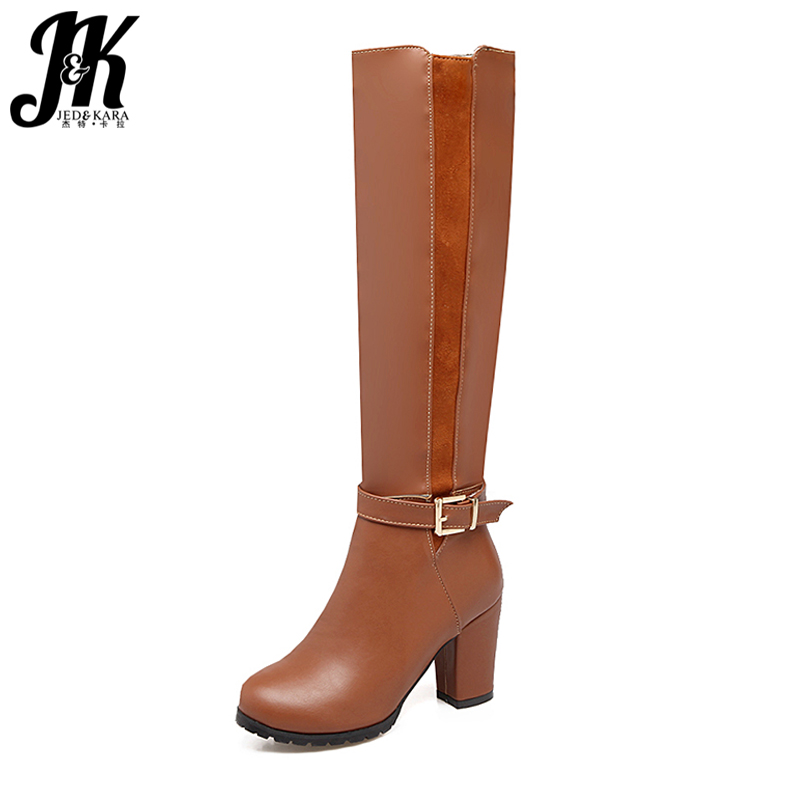 6036ceea93c5 J K Plus Size 34-45 Brand Women Knee High Boots Knight Thick High Heels  Shoes
