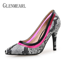 Women Pumps Snakeskin High Heels Shoes Female Brand Thin Heel Casual Ladies Shoe Slip On Pointed Toe Party Shoes Plus Size DE