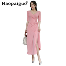 Plus Size Elegant Pink Dress Women Half Sleeve Deep V-neck Solid Casual Long Corset Split Sexy Party