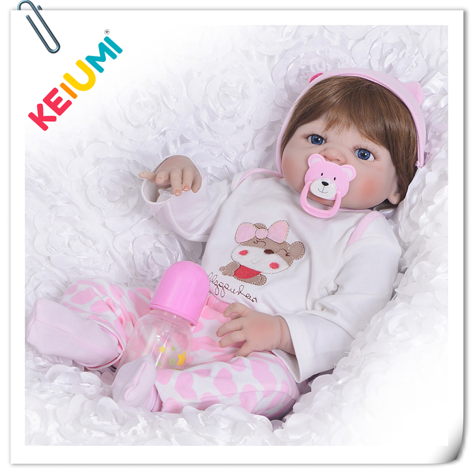 KEIUMI 23'' Full Body Silicone Baby Real Like Baby Doll Toys For Girl Toddler Realistic Reborn Babies Doll Kids Xmas Gifts keiumi realistic silicone reborn babies doll lifelike 22 princess baby girl doll gold hair bebe reborn toys for kids gifts