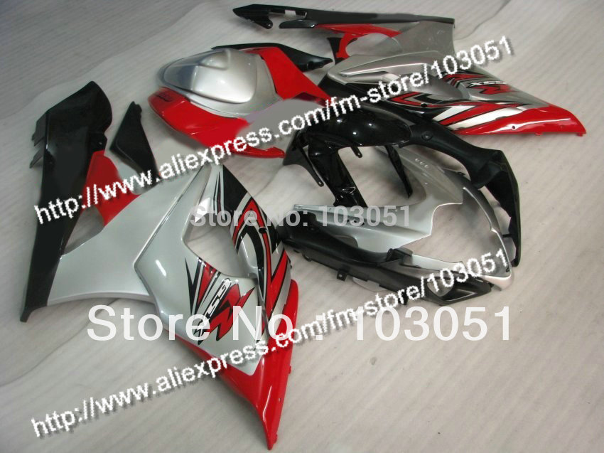 Injection mold custom for 2005 suzuki gsxr 1000 fairings K5 2006 GSXR 1000 fairing 05 06 glossy silver with black Dw51 custom road fairing kits for suzuki glossy flat black 2006 gsxr 1000 k5 2005 gsx r1000 06 05 motorcycle fairings kit