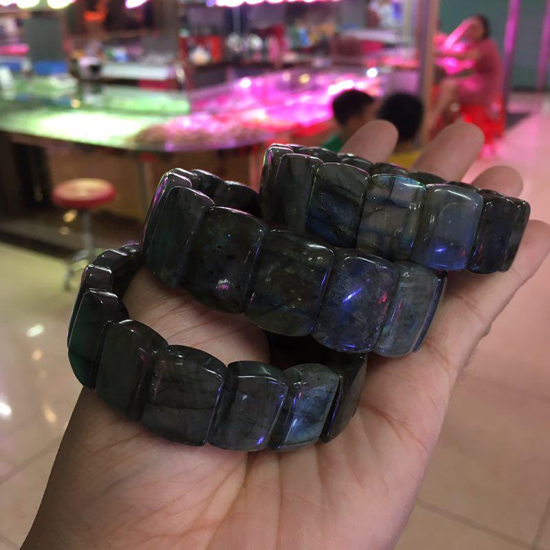 Bracelet en Quartz pierre de cristal naturelle Labradorite perles de pierre Bracelet en pierre gemme naturelle