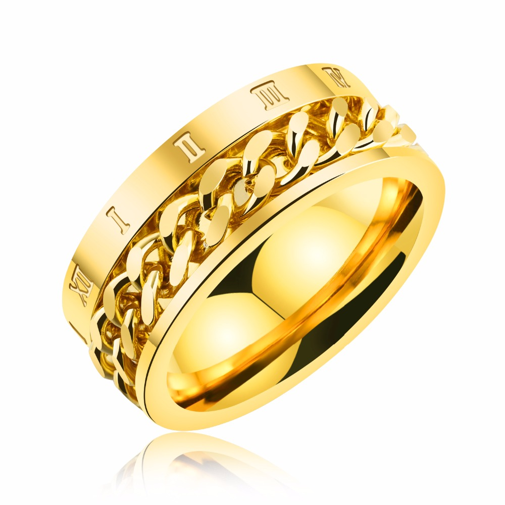 Gold Color Rings For Men Jewelry 8mm Stainless Steel Slave