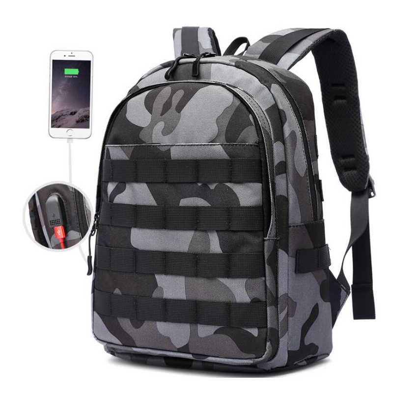2019 PUBG Backpack Men Bag Mochila Pubg Battlefield Infantry Pack Camouflage Travel Canvas USB Jack Multi-functional Knapsack