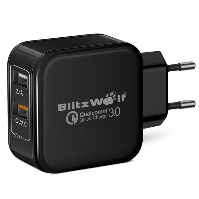 Blitzwolf 2.4a 30 w ue qc2.0 qc3.0 certificado cargador rápido dual rápido micro usb adaptador cargadores de teléfonos con tecnología power3s