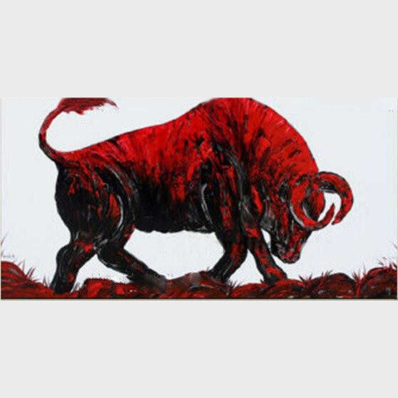 Ręcznie Nowocze Byk Artwork Zwierząt Czarny Jakości Sztuki Nowoczesne Ścienne Dzieła Zabójca Obraz Wysokiej Na W Dekoracje Malowane Wściekły Olejny Salon Płótnie