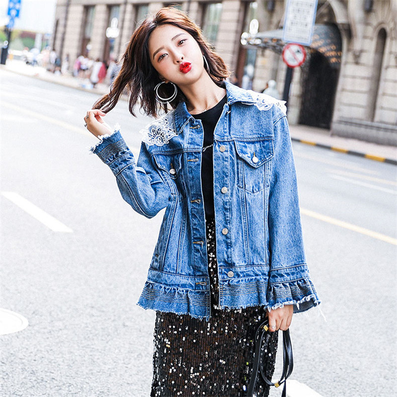 Denim Jacket Women 2019 Spring Fashion New Loose Coat Single Breasted Slim Ruffled Lace Embellished Denim Outerwear Female WIN77 - 3