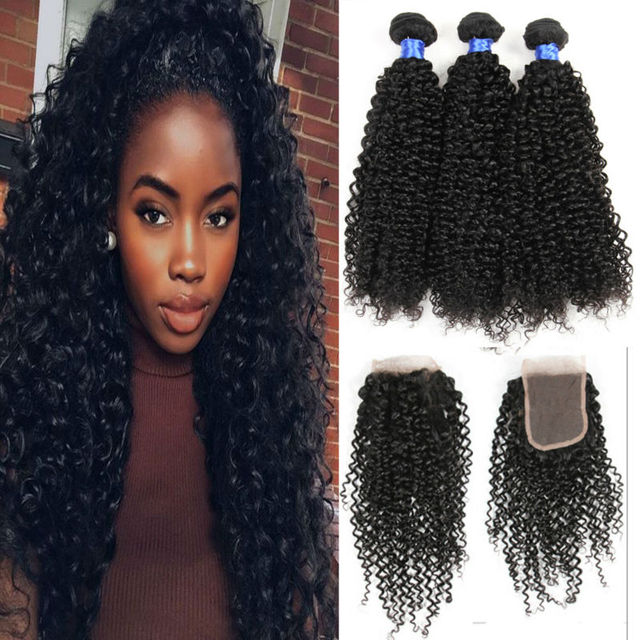 8a Cheap Mongolian Curly Hair With Closure Kinky Curly Hair 3 Bundles Human Hair With Closure Mongolian Virgin Hair With Closure