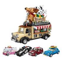 מיני אבני בניין טכני ספורט רכב קרח קרם חם כלב bule משטרת מכוניות מודלים חינוכיים הרכבה ילדים צעצועים