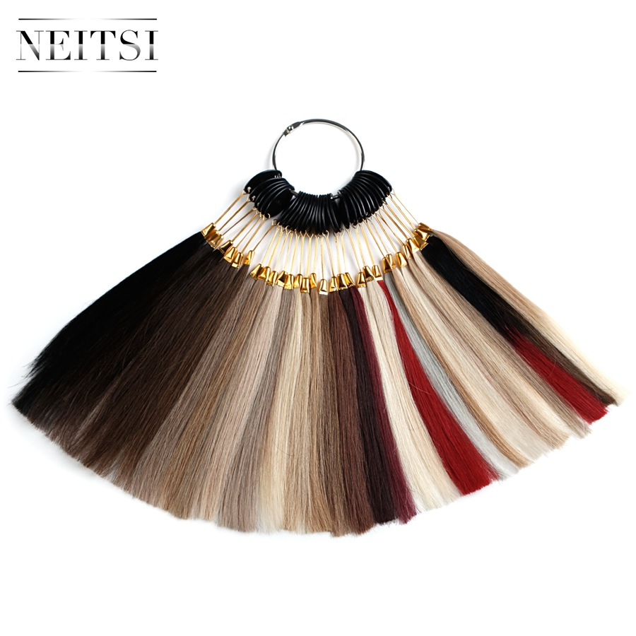 Neitsi Remy Hair Color Rings/ Color Charts 30 Colors Available 100% Human Hair Can Be Dyed For Salon Sample image