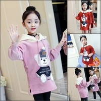 Autumn Winter Baby Girl Catoon Hoodies Girls Long Style Sweatshirts Outwear Kids Casual Thicken Warm Hoodies Coat Top 4 12Y