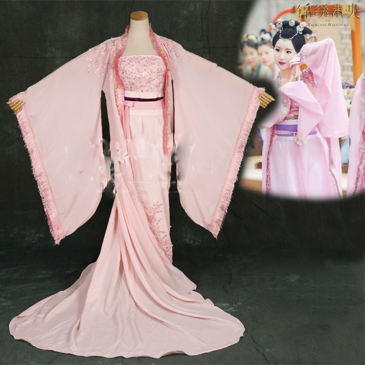 Pink Princess Hanfu Newest TV Play The Princess WeiYoung Traditional Chinese Pink Flower Fairy Costume For Stage Performance