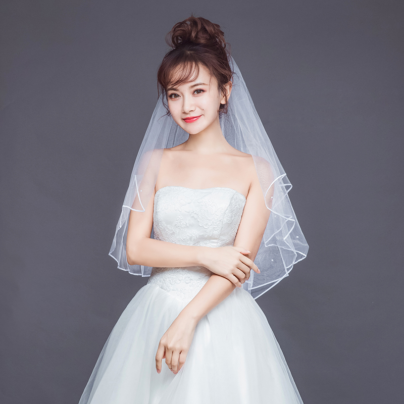 Pearl Women Wedding Dress Veil Two Layers Tulle Ribbon Edge Short Bridal Veils Accessories Elbow Length Wedding Veils With Combs