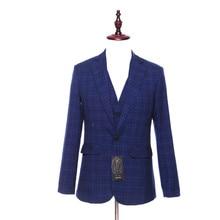 Two Button Blue Plaid Pattern Wool Slim Blazer
