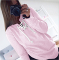 2016 Autumn & Winter Women Sweatshirts Fashion Solid Black Gray Pink perforated tape Knitted Sweatshirt O-neck Women Pullovers