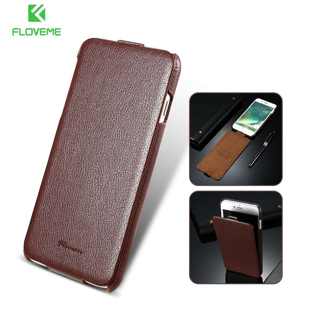 FLOVEME Genuine Leather Case For iPhone 7 7 Plus Flip
