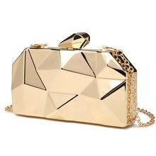 Goud Acryl Doos Geometrische Avondtasje Clutch Bags Elegent Chain Handtas Voor Party Schoudertas Voor Bruiloft/Dating/Party