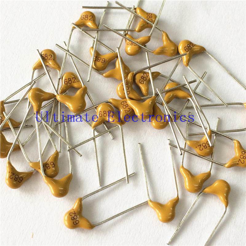 100pcs/lot  Multilayer Ceramic Capacitor 682 50V 6.8nF 682M P=5.08mm