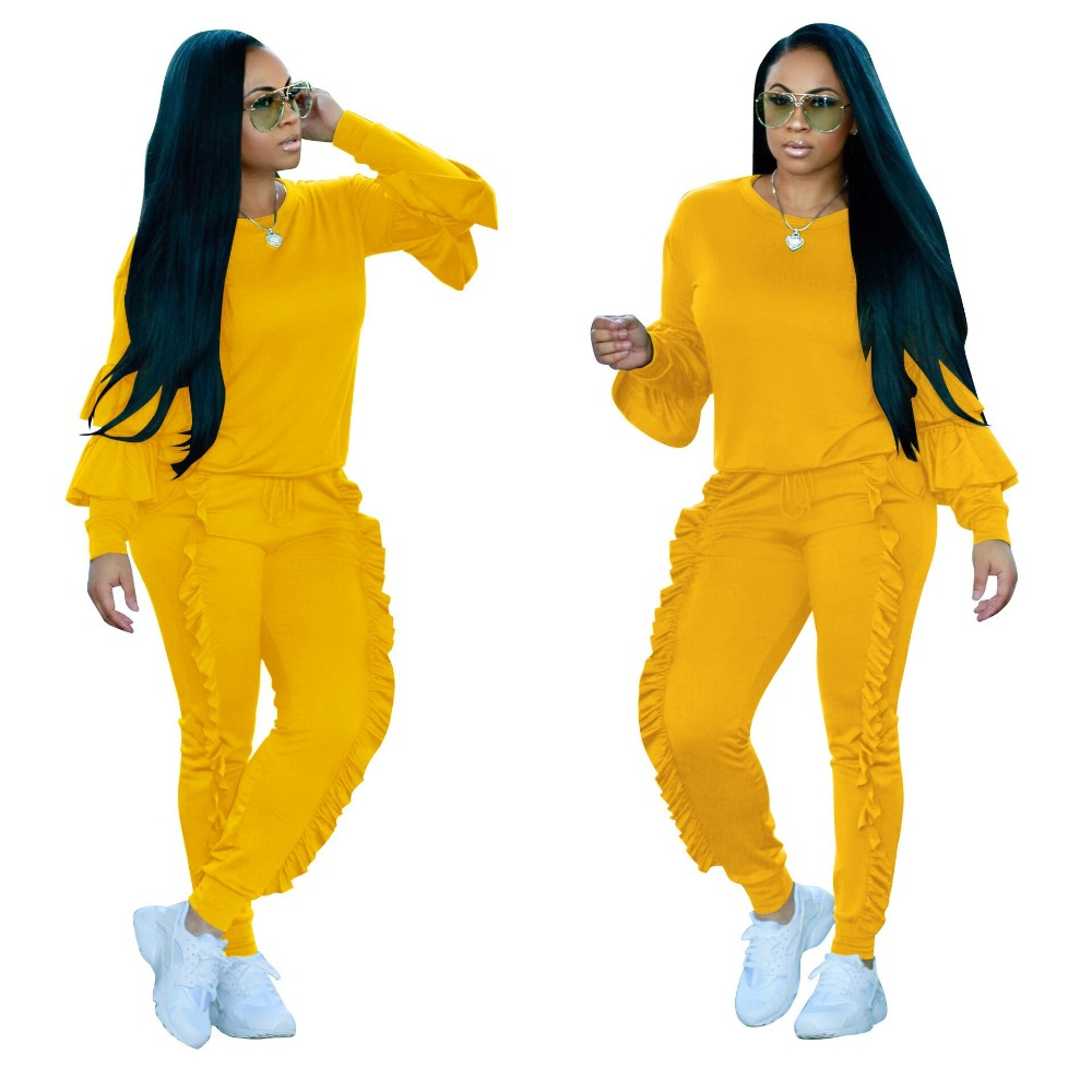 CFYH 2 Piece Set Sexy Ruched Ruffles Women's Tracksuits Autumn Winter Fashion Casual Tops Pants Female Hoodie Sweat Suits Mujer
