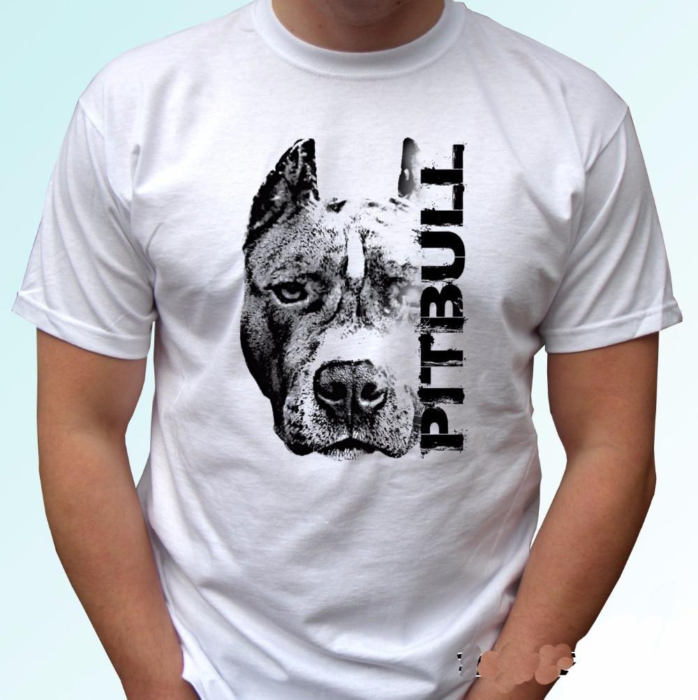 2017 Brand T Shirt Tees Print T Shirt Men Pitbull Head Dog
