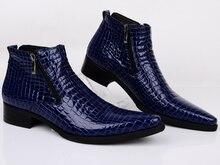 Tamanho grande EUR46 serpentina azul/preto apontou para sapatas de vestido dos homens ankle boots de couro genuíno sapatos de casamento sapatos busines