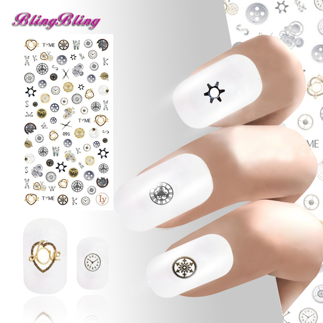 Blingbling Punk Parts Nail Art Stickers Time Gear Clock Design Wraps Manicure