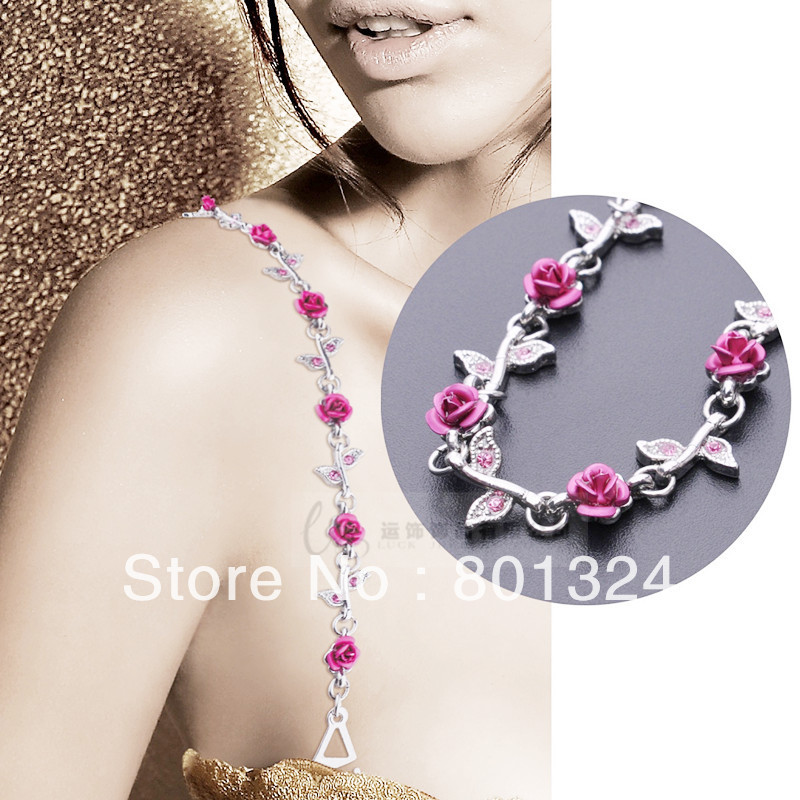Free Shipping New Lot Fashion Sexy Lady s Crystal Rhinestone BRA Straps Sets Diamond bra band