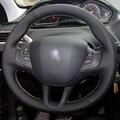 Mão-costurado Couro Preto Cobertura de Volante para Peugeot 208 Peugeot 2008 Carro Especial