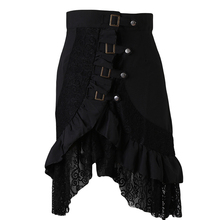 2016 New Summer Women Skirt Elegant Steampunk Rock Skirts Women Patchwork Lace Hem Midi Skirts Black Skirt DP986364