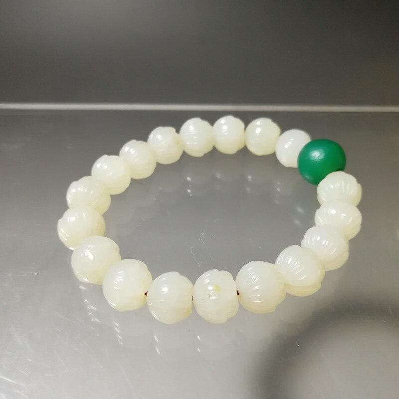 Hetian jade lotus perle weiß jade armband, 18 hetian weiße jade lotus perle