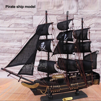 50cm Solid Wood Pirate Ship Mediterranean Sailing Model Wooden Crafts European Ornaments Sailing Boat Manual Craft decoration