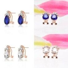 2016 Simulated Sapphire Blue Crystal Waterdrop Stud Earrings boucle d'oreillefor Women Girls Piercing Jewelry