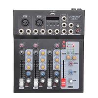 LOMOEHO AM F4 2 Mono + 1 Stereo 4 Channels Bluetooth USB 48V Phantom Professional DJ Audio Mixer