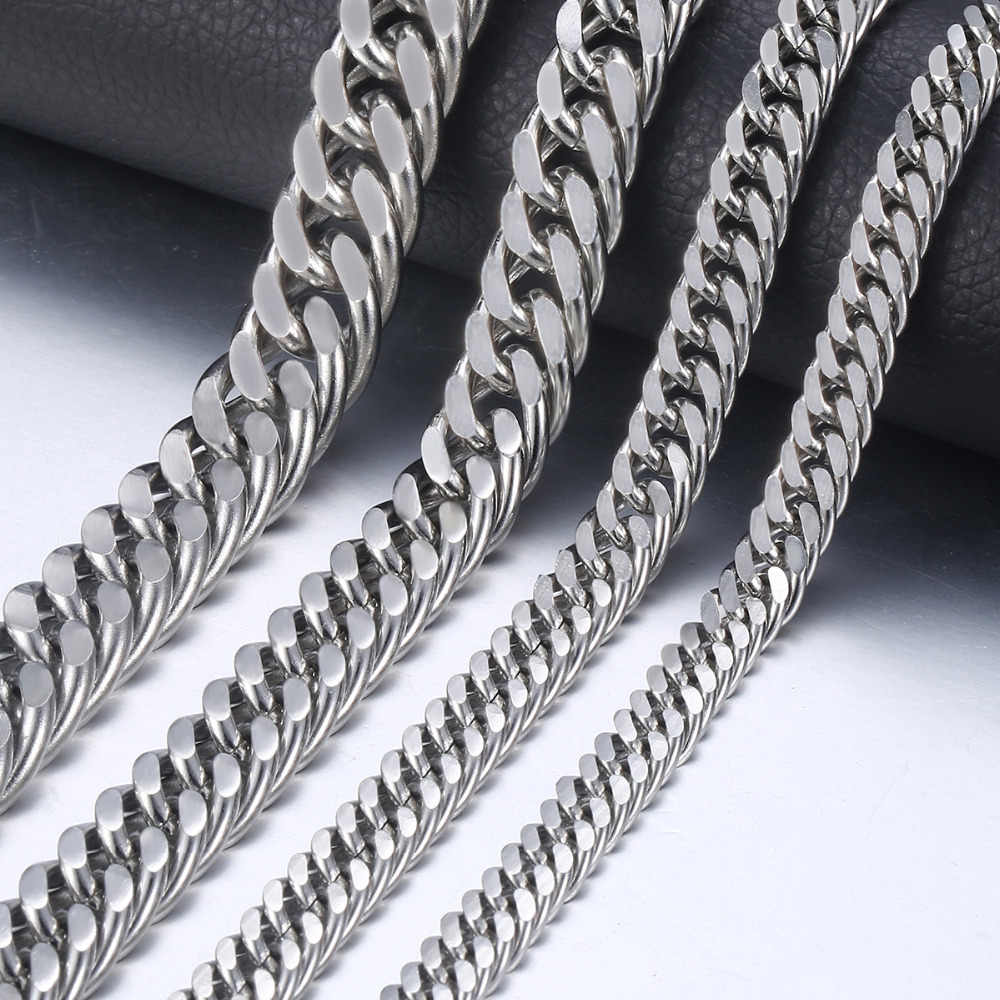 "7-15mm Men's Stainless Steel Necklace Silver Color Curb Cuban Link Chain Necklace Male Collar Fashion Jewelry 18-36"" KNM33"