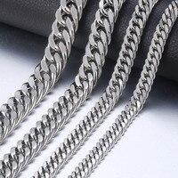 7-15 мм мужское ожерелье из нержавеющей стали серебряное кольцо с кубинской цепочкой ожерелье мужской Воротник модные ювелирные изделия 18-36