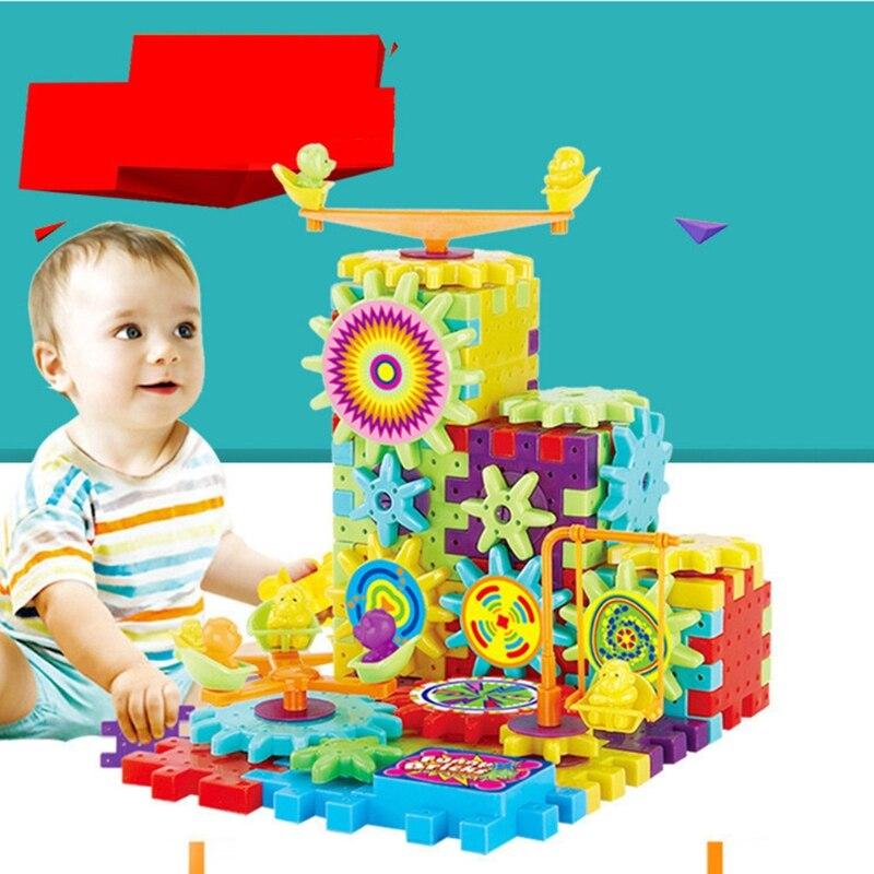 81 Pcs Électrique Engrenages 3D Puzzle Bâtiment Kits DIY Briques Enfant Enfants Jouet W15