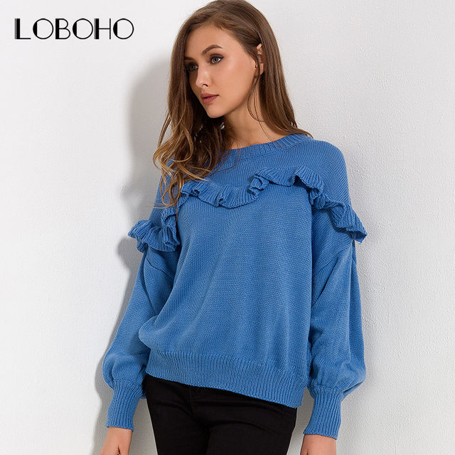 Sawesy Lantern Long Sleeve Autumn Winter 2018 Knitted Sweaters And Pullovers  Women b3af30c3b
