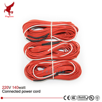 24K 20meter 140w 220V 17ohm Infrared Heating Floor Heating Cable System Of 2 4mm PTFE Carbon