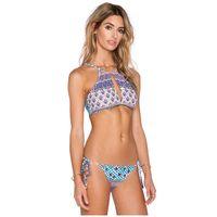 Strappy Halter Highneck Bikini Bohemian Hollow Tassels Bath Retro Leaf Print Bikini Female Solid Monokini Choker
