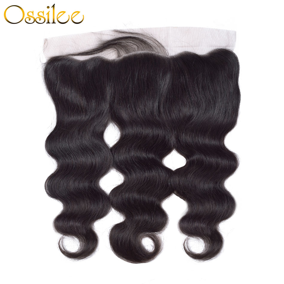 Ossilee Brazilian Body Wave Lace Frontal Closure Ear to Ear Free Part Lace CLosure with Baby Hair Remy Hair Size 13X4 Human Hair
