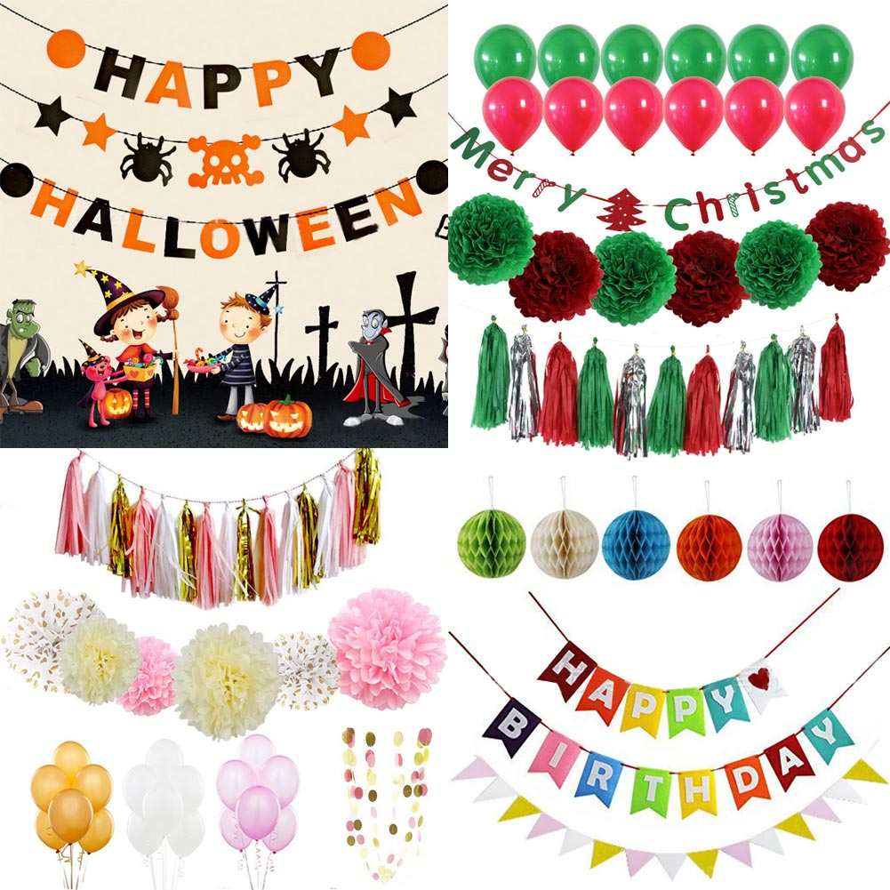 paper decoration set christmas halloween weeding birthday party multicolor bunting banners decor party decoration kit banners