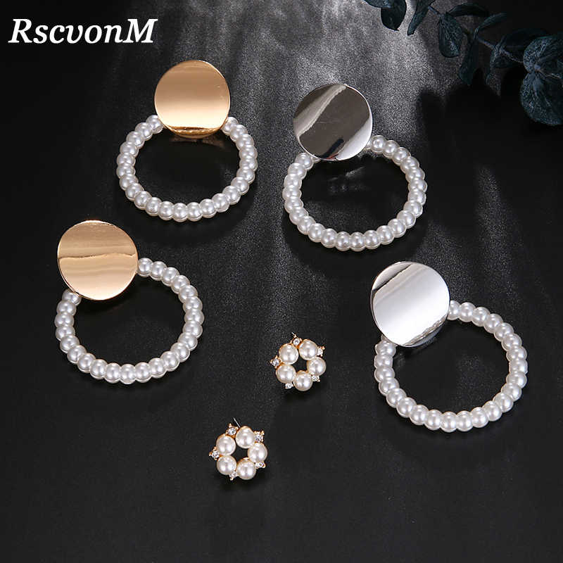 New Modern Style  Pearl Charm Statement Earrings For Women Jewelry Trendy Gold Color Big Geometric Human Head Stud Earring