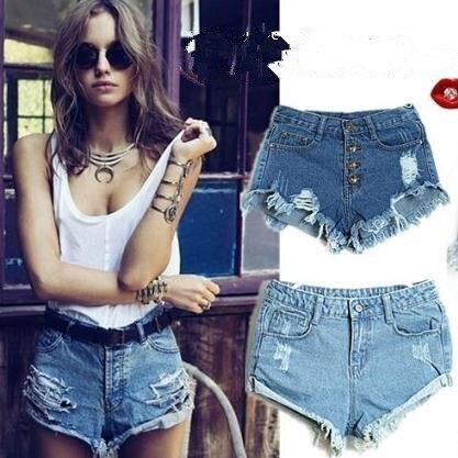 New summer women's Hole Tassel Washing Button short High Waist shorts Denim Shorts Women Jeans Free Shipping Wholesale