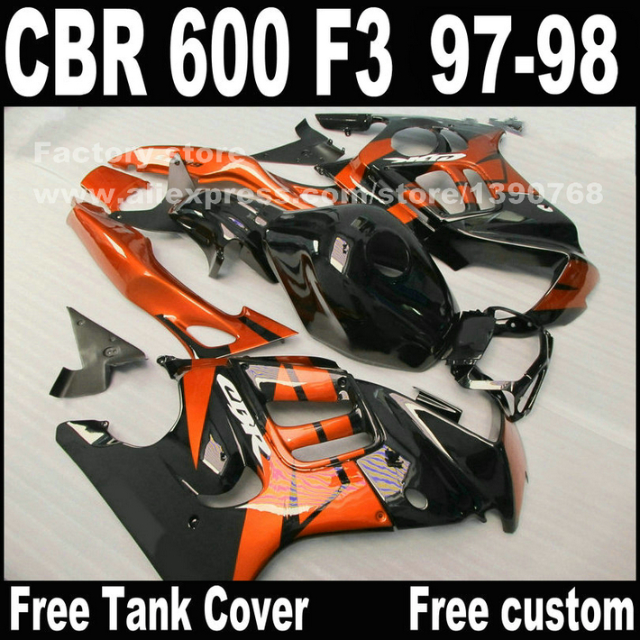 Freeship Motorcycle parts for HONDA CBR 600 F3 fairings 1997 1998 CBR600 F3 97 98 brown black fairing kit  S1