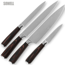 Handmade kitchen knife set fruit utility slicing chef knife best stainless steel kitchen tools Damascus pattern cooking knives