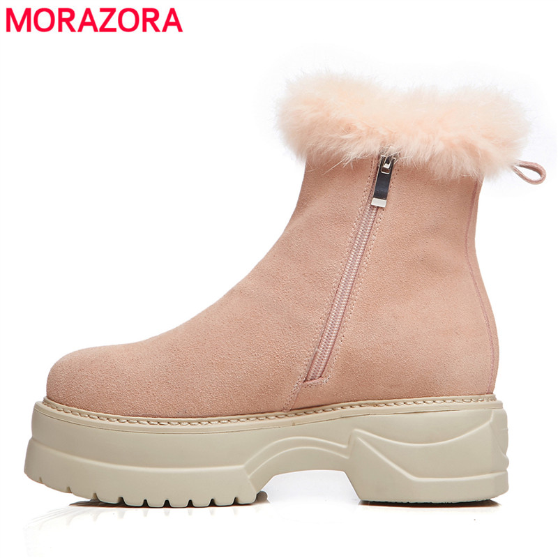 MORAZORA 2018 new winter shoes woman cow suede ankle boots round toe zipper platform boots keep warm snow boots women pink MORAZORA 2018 new winter shoes woman cow suede ankle boots round toe zipper platform boots keep warm snow boots women pink