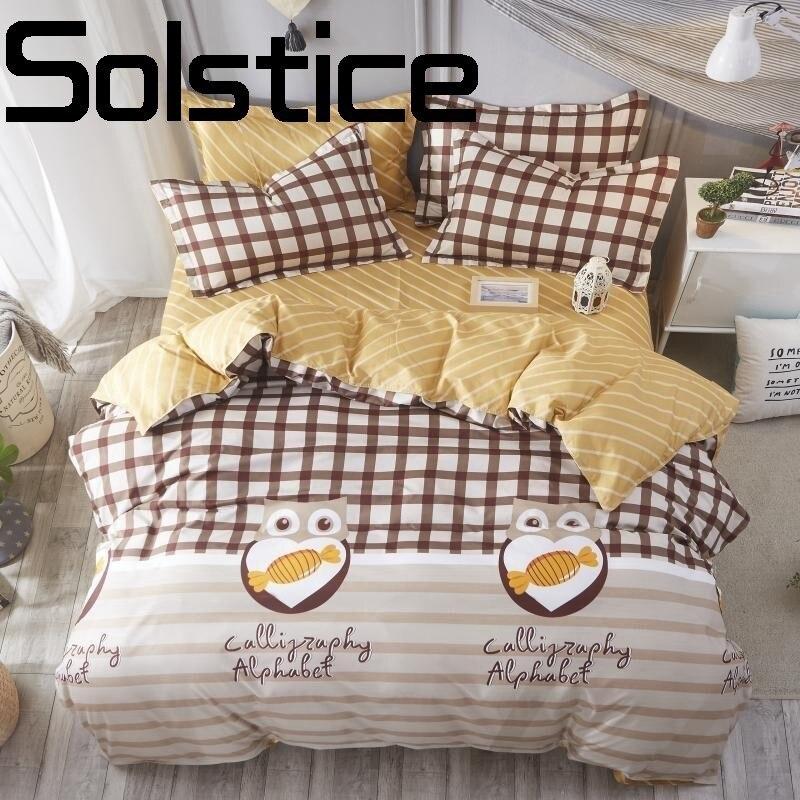 Solstice Maison De Mode simple respirant actif impression et teinture aloe coton linge de lit housse de Couette taie d'oreiller literie 3/4 pcs