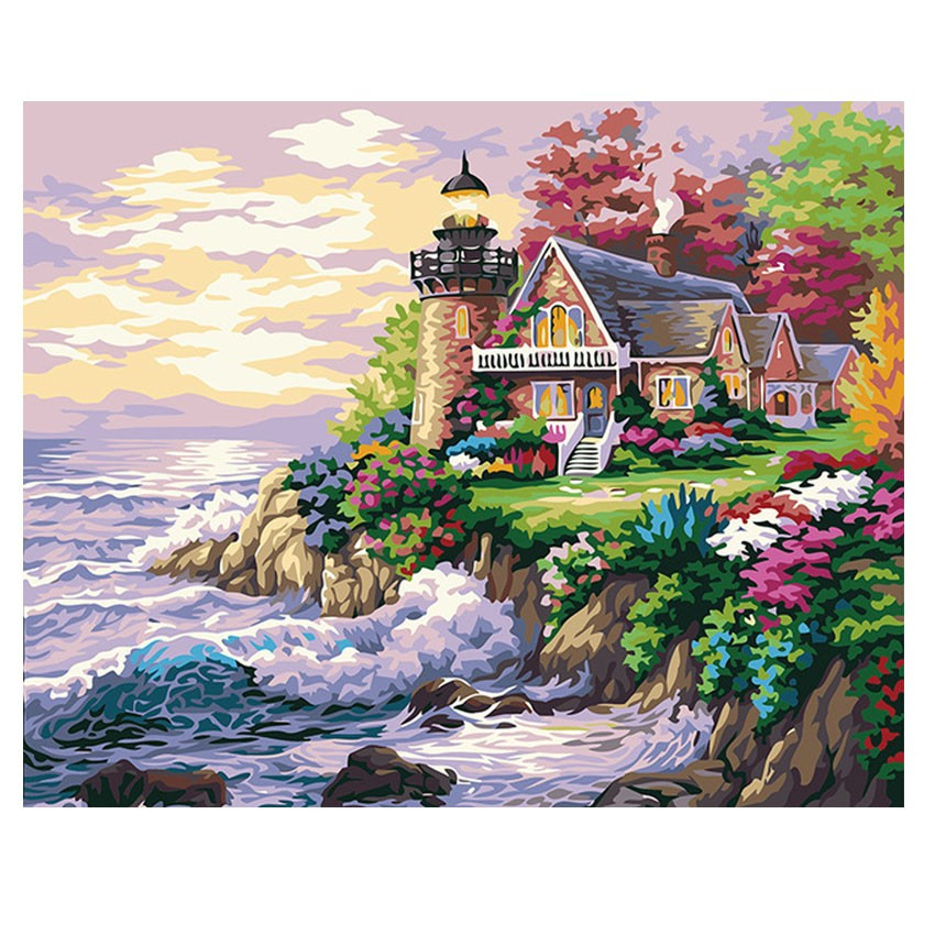Seaside House Diy Painting By Number Modern Landscape Calligraphy Castle Painting Acrylic Paint By Number For Home Decor Arts,crafts & Sewing